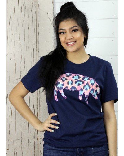 S/S Watercolor Cheetah Pig Tee in Navy by Real McCoy