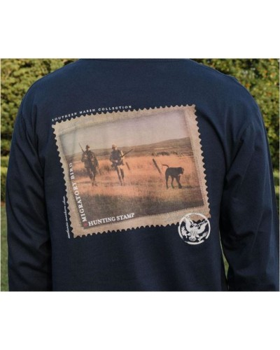 L/S Chocolate Lab Tee in Navy by Southern Marsh
