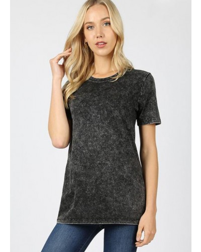 S/S Mineral Washed Round Neck Top in Charcoal