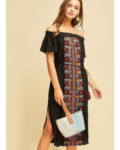 Embroidered Off Shoulder Dress in Black