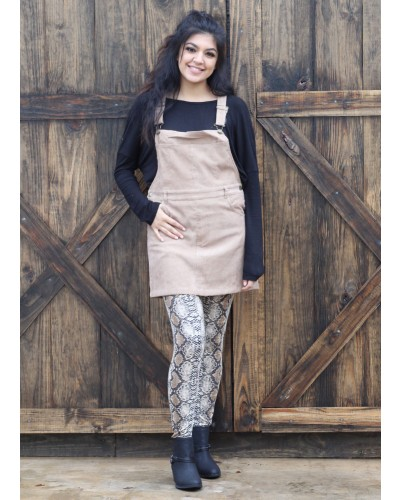 Corduroy Pinafore Dress in Khaki