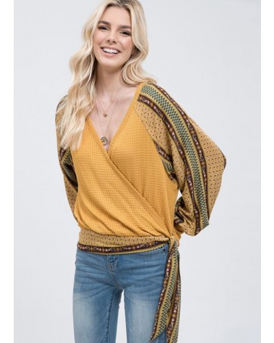 L/S Top with Front Tie in Mustard