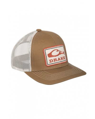 Square Patch Mesh Back Cap in Brown/Putty by Drake