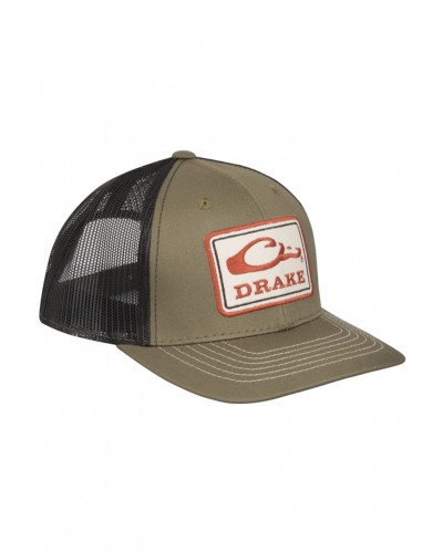 Square Patch Mesh Back Cap in Loden/Black by Drake