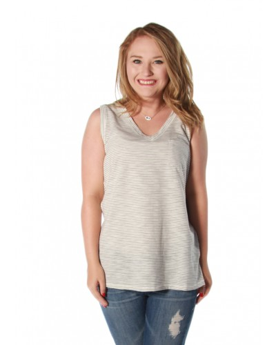 ''Ellie'' V-Neck Stripe Tank in White Black by Dear John