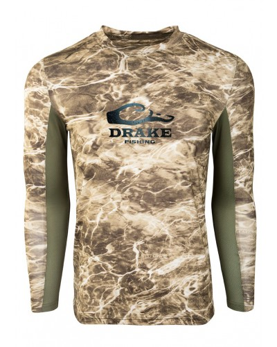 L/S Shield-4 Mesh Back Crew Neck in Mossy Oak Sandcrab/Olive by Drake