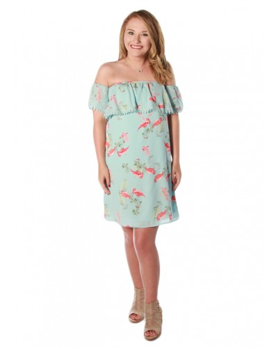 Strapless Flamingo Print Dress in Light Blue by Everly