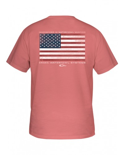 S/S Drake American Flag T-Shirt in Coral by Drake