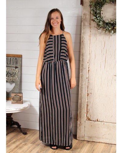 Stripe Maxi with Back Keyhole in Black