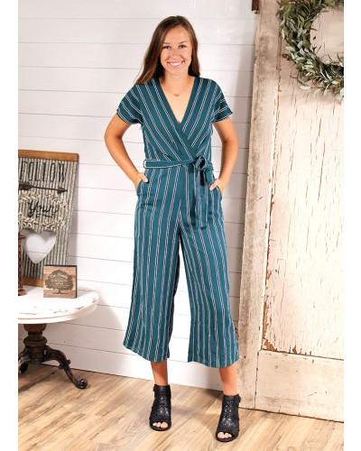 Teal Striped Cropped Jumpsuit by Everly