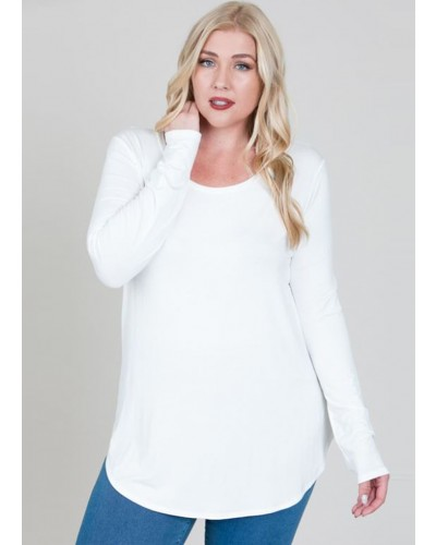 Plus L/S R Neck Top in Ivory