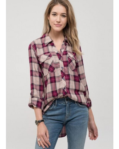 L/S Check Button Up Shirt in Dark Magenta