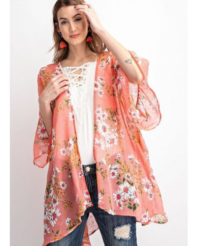 Bell Sleeve Overlay in Hot Coral