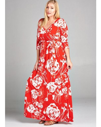 Plus Size Floral Faux Wrap Maxi Dress in Tomatoe Red