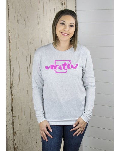 L/S AR Breast Cancer Tee in White by Nativ