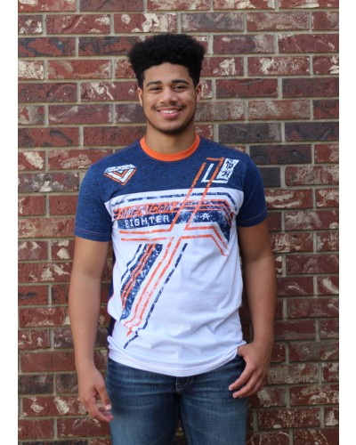 Chesterfield S/S TMT FB Tee White/Royal Blue/Flo Orange by American Fighter