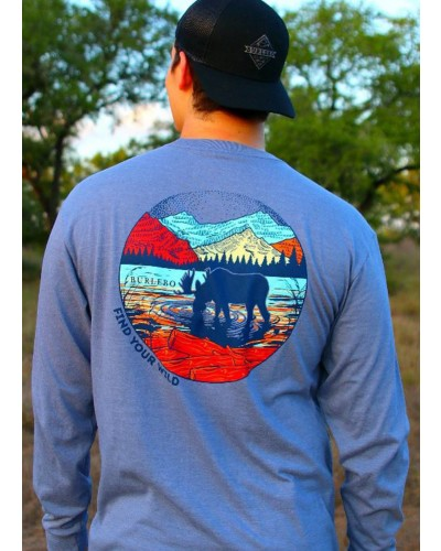 L/S Find Your Wild Tee in Heather Blue Jean by Burlebo