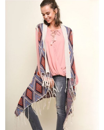 Multicolor Diamond Open Long Body Vest in Tan Mix by Umgee