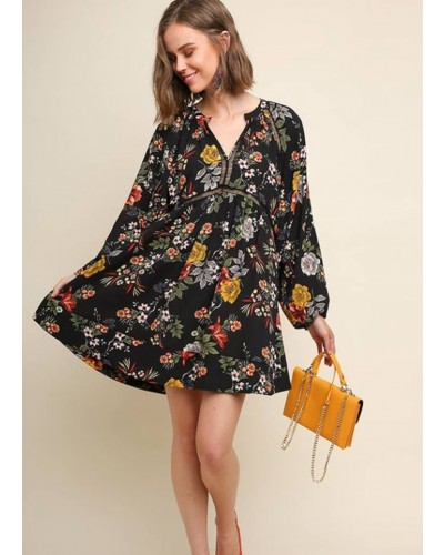 Floral Print Puff Sleeve Babydoll Dress in Black Mix by Umgee
