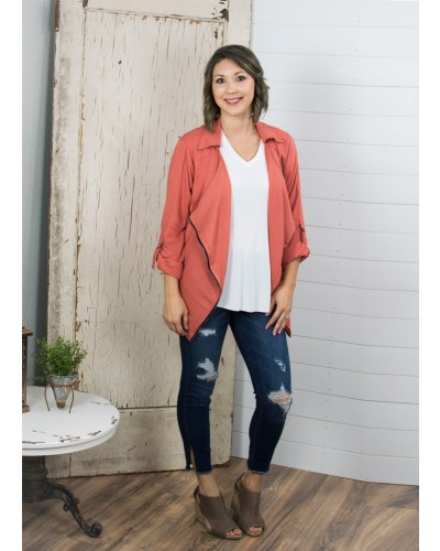 Drape Collar Flowing Jacket in Rust
