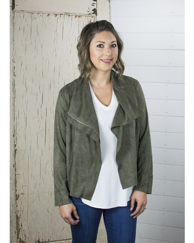 Suede Zip Up Modo Jacket in Olive by Umgee