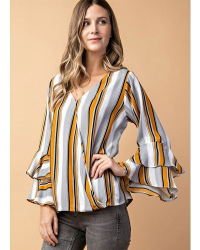 Multi Stripe Layered Sleeve Top in Mustard Multi