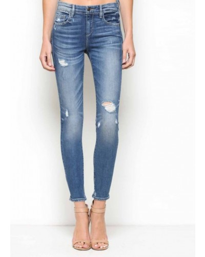 Amelia Mid Rise Distressed in Dark Blue by Hidden Jeans