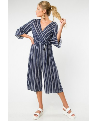 Culotte Jumpsuit in Navy and Ivory by Everly