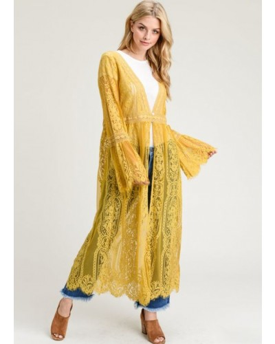 Lace Long Body Cardigan in Mustard by Jodifl