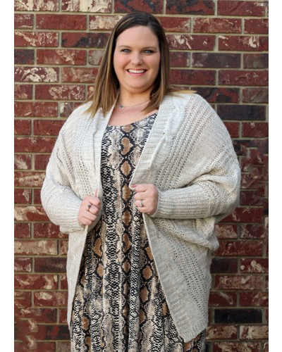 Plus Cable Knit Shrug in Taupe