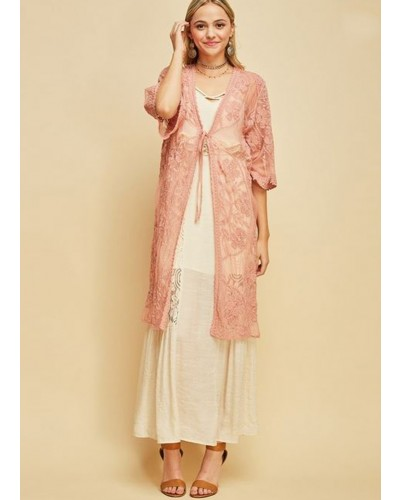 Short Sleeve Lace Kimono w/tie waist in Blush