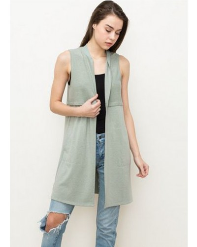 Terry Long Vest in Sage by Hem & Thread