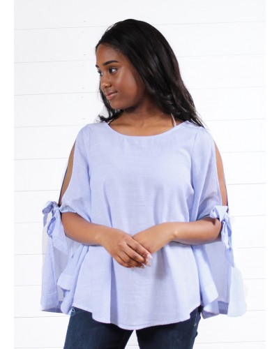 Tie Sleeve Stripe Blouse in Light Blue by Hem & Thread