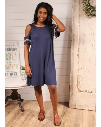 Cold Shoulder Rib Tassel Dress in Navy by Hem & Thread