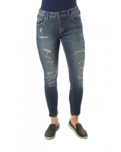 Avery Skinny Woven Denim Pant in Indigo by Silver Jeans