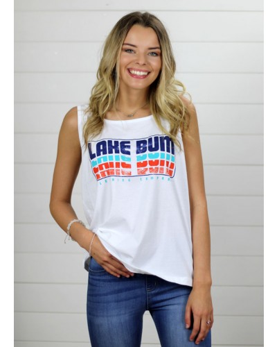 Lake Bum Tank in White by Stated Apparel