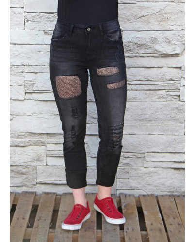 Sequine Jean in Black by L&B