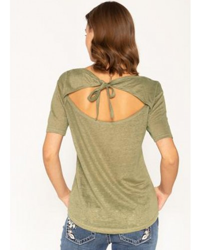 S/S Tie Back Top in Sage Green by Miss Me