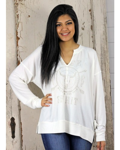 L/S Graphic Print Split Neck Top in Ivory White by Miss Me