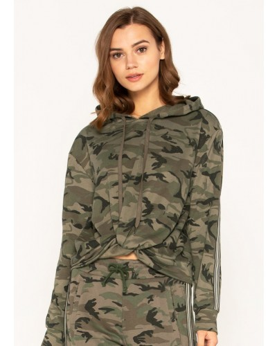 Camo Print Striped Trim Twist Front Hooded Sweatshirt in Camo Green by Miss Me