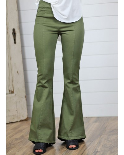 Stretch Flare Bottom Pants in Olive by Umgee