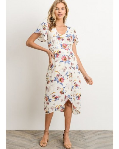 Floral Midi Dress in Ivory/Pink