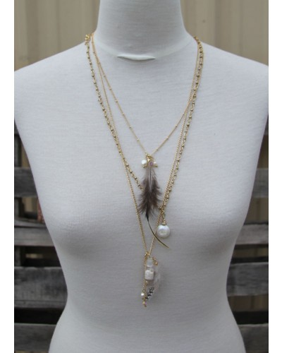 Layered Chains w/Dangles, Bottle & Feather by Lost & Found Trading Co.