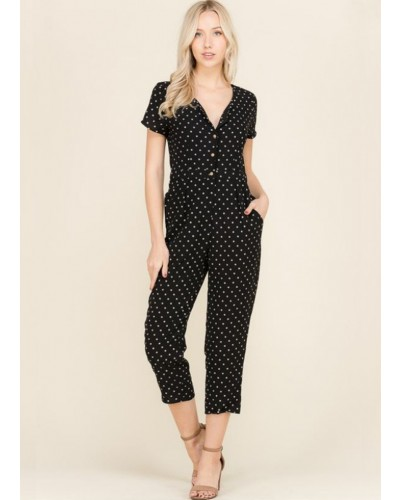 Short Sleeve Jumpsuit in Black by Wellmade Inc.