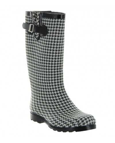 Rubber Rain Boot in Black Houndstooth by Nomad Footwear
