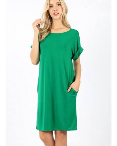Rolled S/S Round Neck Dress in Kelly Green