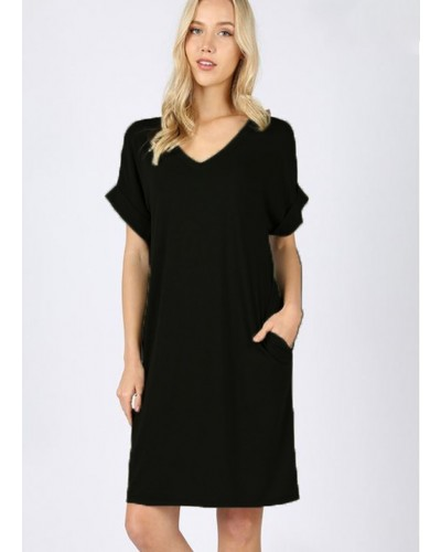 Rolled S/S V Neck Dress in Black