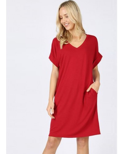 Rolled S/S V Neck Dress in Dark Red