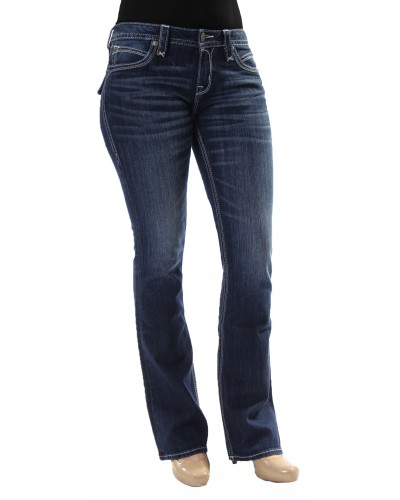 Ladies Bootcut Fashion Pocket Jeans in Ele B11 by Rock Revival