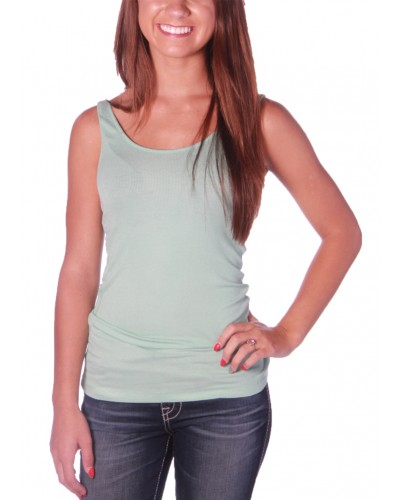 Ribbed Double Scoop Tank in Dark Mint by Zenana